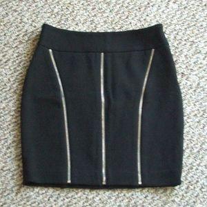 Cache zip stretch knit moto mini skirt 0 S XS